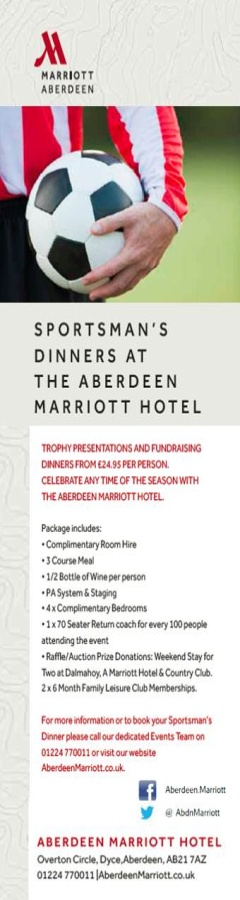 Trophy Presentations and Award Dinners at the Aberdeen Marriott Hotel